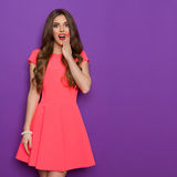 Femme étonnée d'Elegnat dans la robe rose image libre de droits