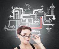 Femme étonnée enlevant des verres, labyrinthe de flèche images stock