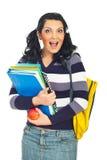 Femme étonnée heureuse d'étudiant Image stock