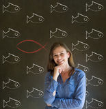 Femme, étudiant ou professeur d'affaires considérant Jésus, Dieu ou le christianisme Image stock