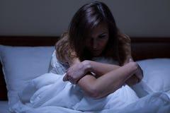 Femme éveillée souffrant de la dépression Photographie stock