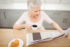Femme aîné affichant un journal Photos libres de droits