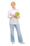 Femme aîné avec des livres Images libres de droits