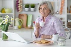 Femme aîné avec l'ordinateur portatif Photos libres de droits