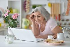 Femme aîné avec l'ordinateur portatif Photographie stock libre de droits