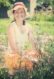 Femme aîné avec la camomille bleue Photographie stock libre de droits