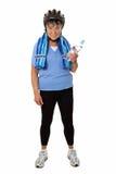 Femme aîné avec le botte de l'eau Photographie stock libre de droits