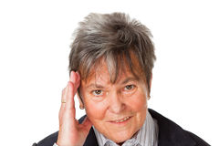Femme aîné avec le mal de tête Photographie stock libre de droits