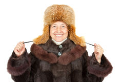 Femme aîné dans des vêtements hivernaux Image stock