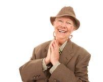 Femme aîné dans le vêtement de l'homme Photos stock