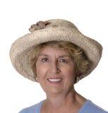 femme aîné de paille de chapeau élégant Photos libres de droits