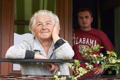 Femme aîné et son fils Image libre de droits
