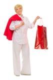 Femme aîné heureux avec le sac Images libres de droits