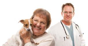 Femme aîné heureux avec le vétérinaire de crabot et de mâle Image stock