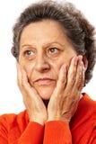 Femme aîné triste dans les pensées Images libres de droits