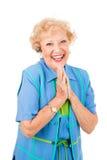 femme aînée enthousiaste de portable Photo libre de droits