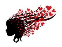 Femme abstrait avec des coeurs Image stock