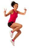 Femme active faisant l'aérobic pour une cardio- danse de formation Photographie stock