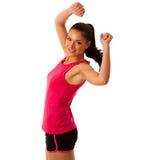 Femme active faisant l'aérobic pour une cardio- danse de formation Photo libre de droits