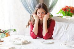 Femme affamé Image stock