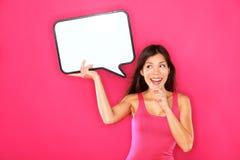 Femme affichant le signe Photographie stock libre de droits