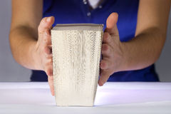 Femme affichant un livre épais Image libre de droits