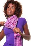 Femme africain avec l'écharpe photo stock