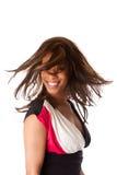 Femme africain d'affaires avec le cheveu de tourbillonnement Images libres de droits