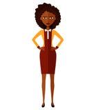 Femme africain Fille inquiétée d'affaires Fille bouleversée de banquier Femme nerveuse de directeur Jeune femme de froncement de  illustration stock