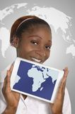 Femme africaine d'affaires avec la Tablette Photos stock