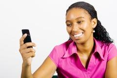 femme africaine de portable Images libres de droits