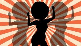 Femme Afro de silhouette de danse Rétro rayons disco Animation plate de boucle banque de vidéos