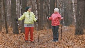 Femme agée deux en parc d'automne faisant l'échauffement avant la marche nordique Photo libre de droits
