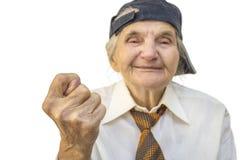 Femme agée montrant le signe de figue Photographie stock