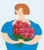 Femme aimable gaie avec le bouquet des roses Gros esprit passionnant de fille illustration libre de droits