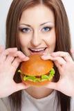 Femme allant manger l'hamburger photo libre de droits
