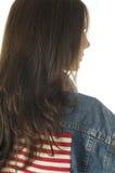 Femme américain patriote avec l'indicateur des Etats-Unis Photographie stock