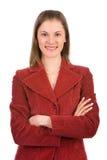Femme amicale d'affaires. D'isolement sur le blanc Image stock