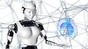 Femme androïde de robot sexy tenant une terre numérique de planète Future technologie de cyborg, intelligence artificielle, infor illustration stock