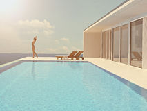 Femme appréciant le soleil à la piscine sans fin rendu 3d Photo stock