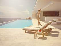 Femme appréciant le soleil à la piscine sans fin rendu 3d Image libre de droits