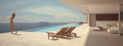 Femme appréciant le soleil à la piscine sans fin rendu 3d Photographie stock