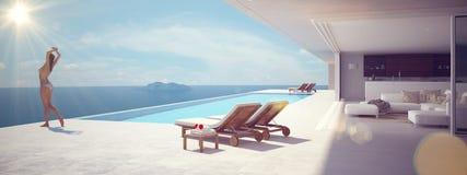 Femme appréciant le soleil à la piscine sans fin rendu 3d Images stock