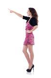 Femme appuyant sur le bouton virtuel d'isolement Photos stock