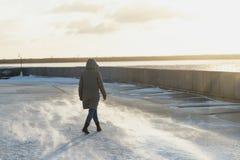 Femme arrière de vue dans une veste d'hiver avec un capot allant sur le remblai d'une rivière de congélation en hiver blizzard photographie stock