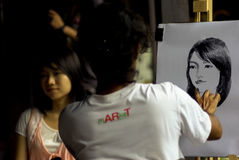 Femme artistique de portrait de peinture Images libres de droits
