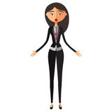 Femme asiatique étonnée de banquier Femme confuse d'affaires Professeur étonné Caractère émotif de fille Vecteur illustration libre de droits
