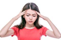 Femme asiatique avec le mal de tête Photographie stock libre de droits