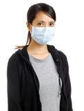 Femme asiatique avec le masque protecteur Photographie stock