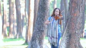 Femme asiatique avec le violon dans la forêt de pin le matin de lumière du soleil banque de vidéos